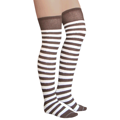 Brown and white over the knee socks. Flat-knit designed to last a long - Brown/White Striped Thigh Highs Shops, The O'jays And Brown