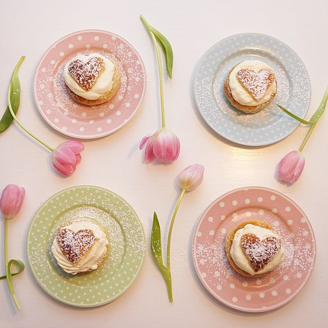 Annas hjärtan, semlor, molban, polkadot, hearts, sweet, tulips, pastel, semla, fika