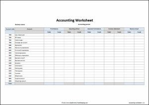 Accounting Worksheet Template  Worksheets Template And Trial Balance
