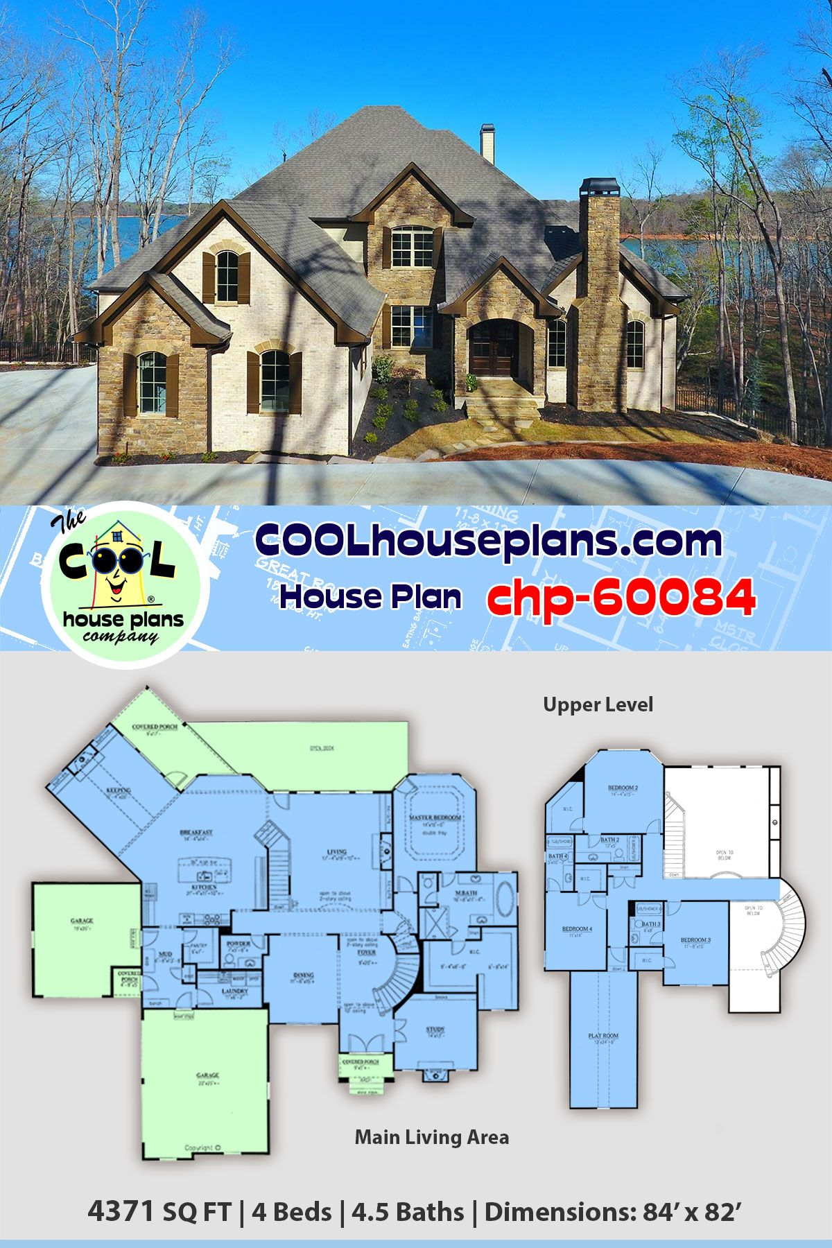 Luxury Traditional Home Plan Chp 60084 Is 4371 Sq Ft 4 Bedrooms 4 5 Bathrooms On Walk Out Basement Family House Plans House Plans Luxury House Plans