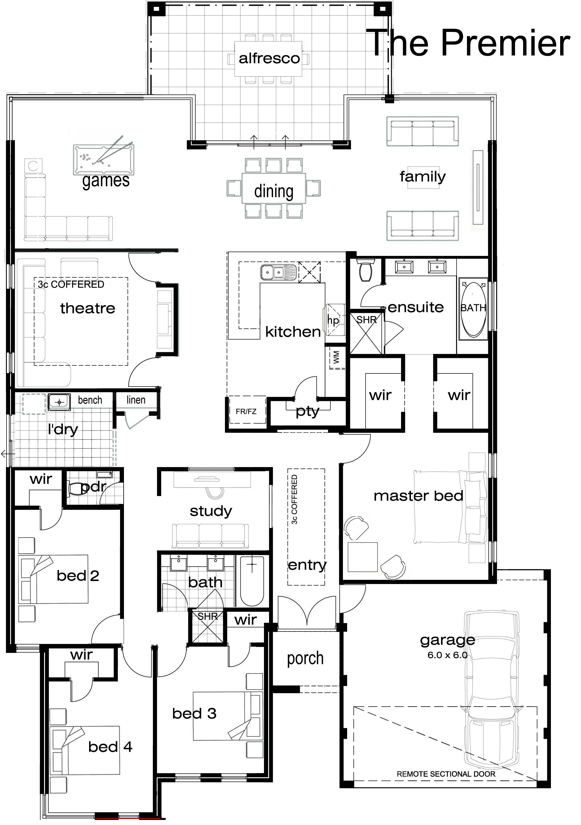 One Story 4 Bedroom House Plan