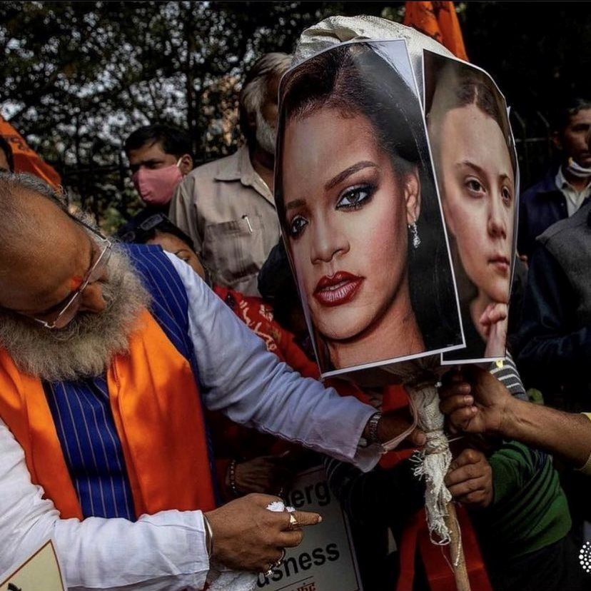 Rihanna and Greta Thunberg | Indian protestors burning picture of Barbadian singer Rihanna and Swedish climate activist Greta Thunberg