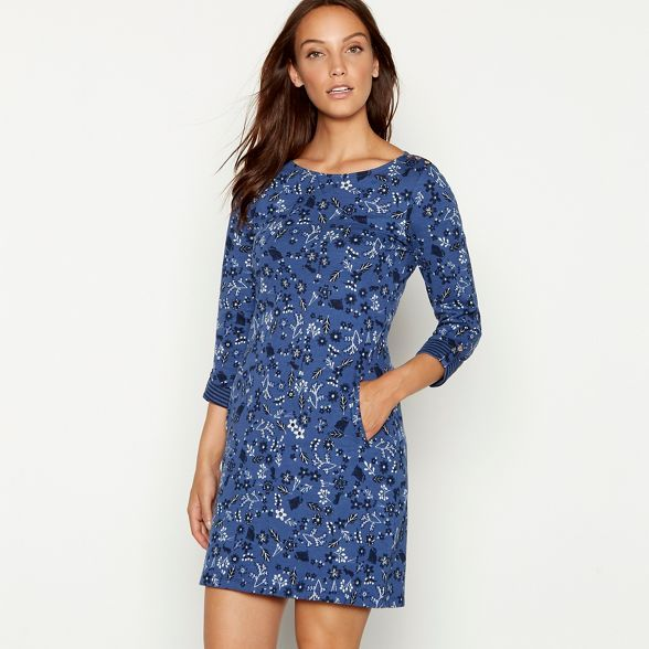c3d089036 Mantaray Navy forest print jacquard dress