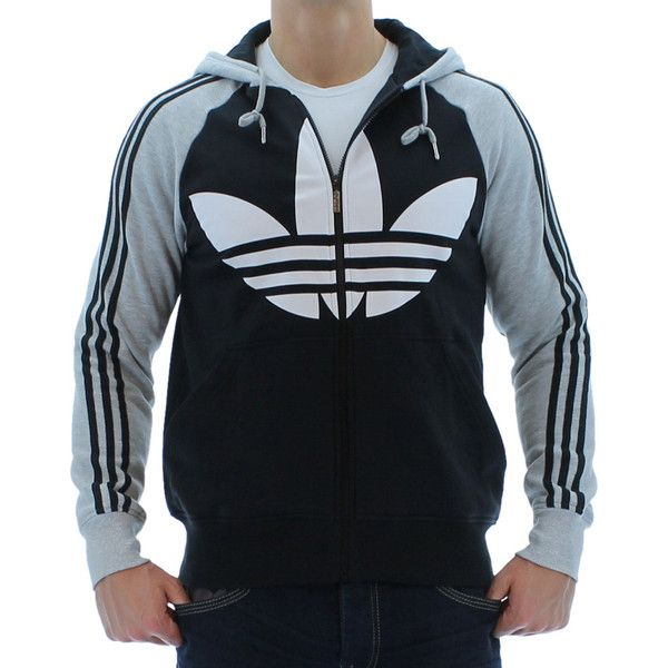 Gray/Black Adidas Originals Color Block FZ Men's Hooded Sweatshirt. Click  here for discounted