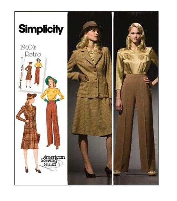 1940s womens suit pattern jacket pants skirt blouse pattern rh pinterest com