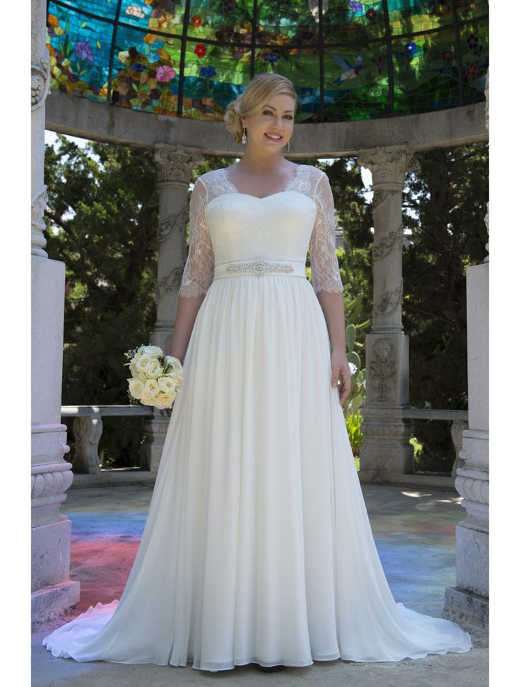 Informal Lace Chiffon Modest Plus Size Wedding Dresses With 3 4 Sleeves  2017 Big Size Reception Bridal Gowns Country Western 080cfc71b807