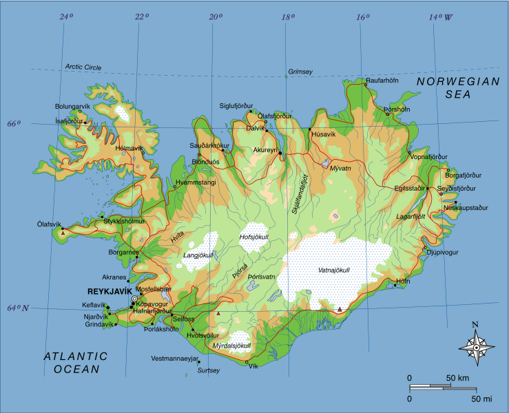 Map of iceland showing major towns and geographical features map of iceland showing major towns and geographical features iceland is entirely south of the arctic circle with exception of the icelandic island of gumiabroncs Gallery