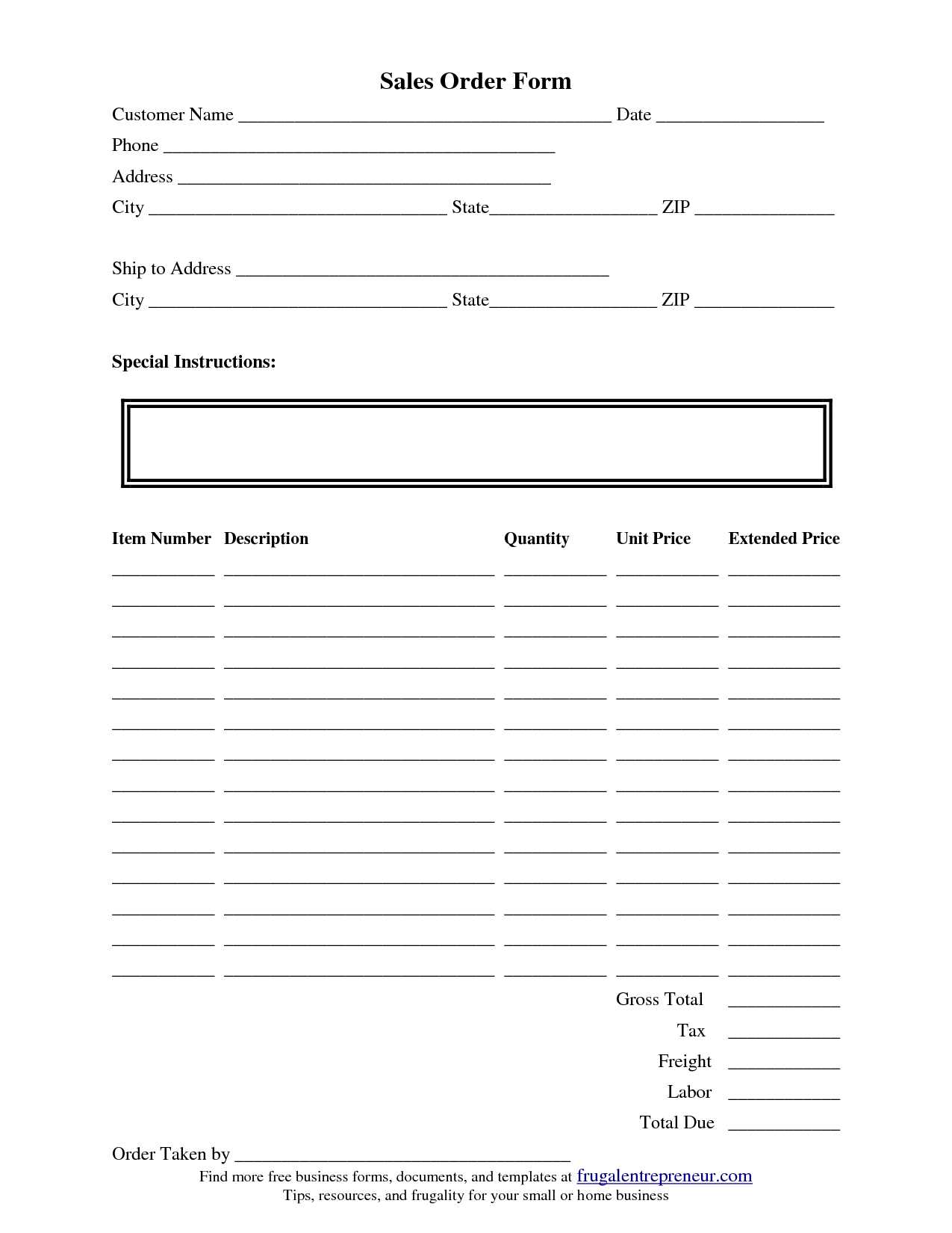 Order Form Template Pages
