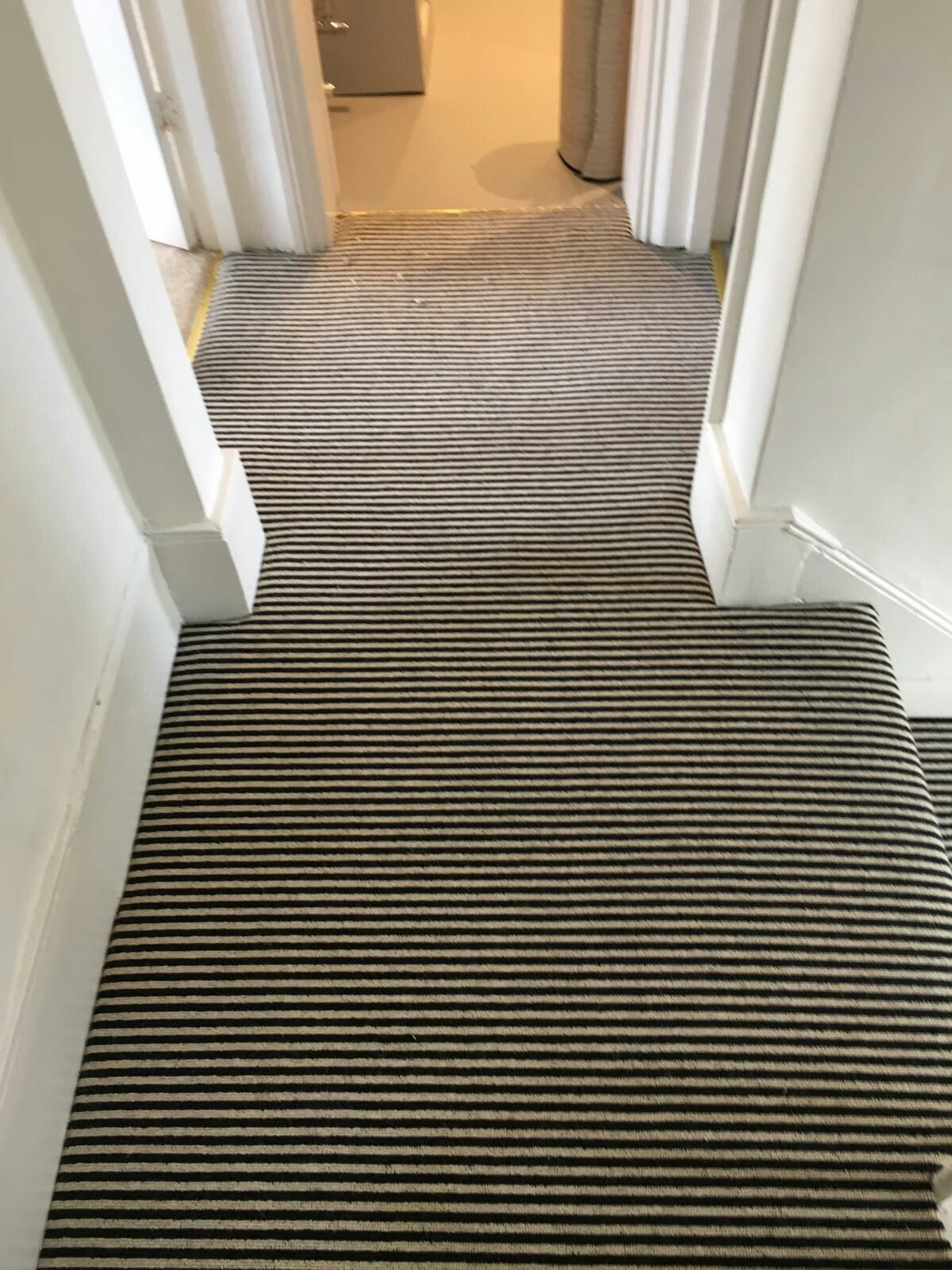 Best Black And White Striped Carpets Fitted Onto Hall Stairs 400 x 300