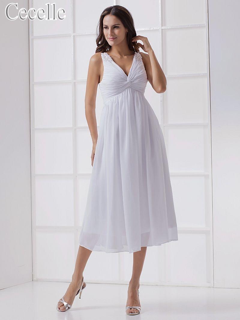 Best beach wedding dresses  Free Shipping Buy Best New Informal White Tea Length Chiffon