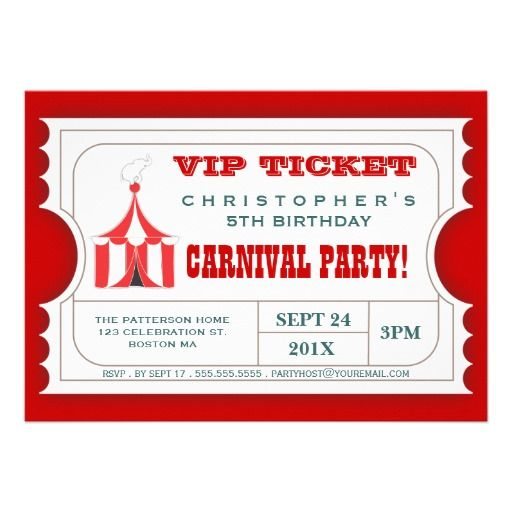 Circus Carnival Birthday Party Ticket Invitation Carnival birthday