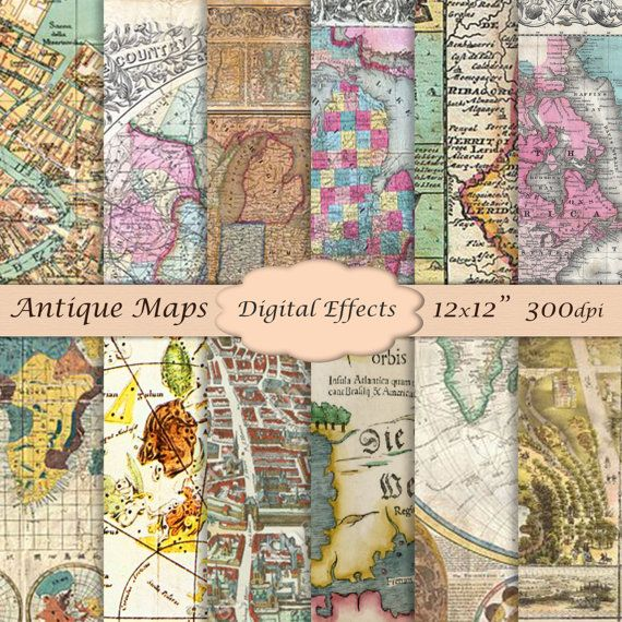 Vintage maps digital paper 12x12 scrapbook paper pack antique vintage maps digital paper 12x12 scrapbook paper by digitaleffects gumiabroncs Image collections