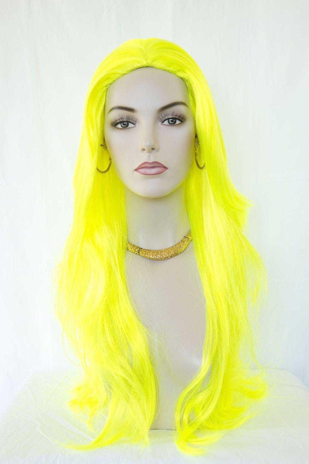 Neon yellow fun color straight skin top long wigs wigginu out