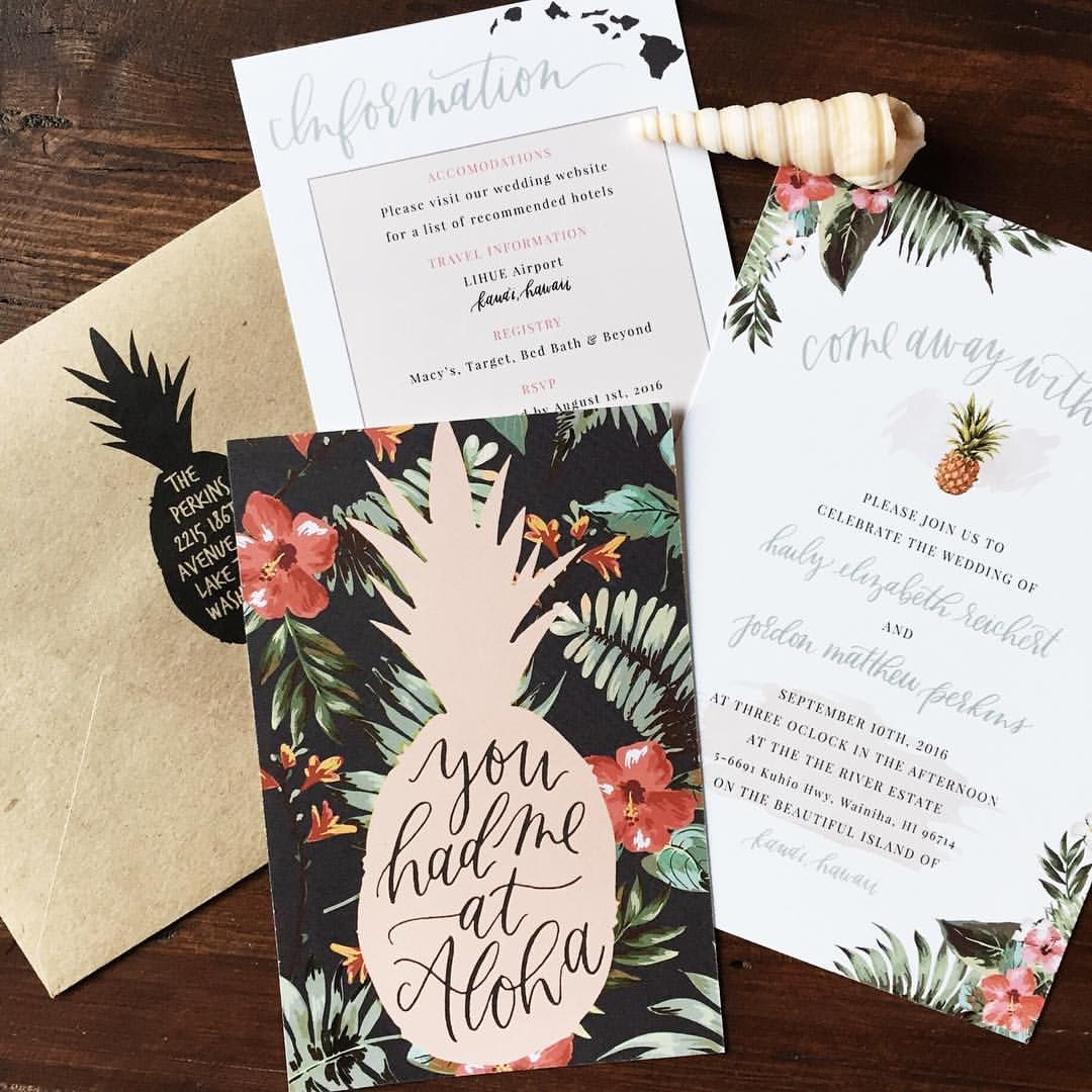 Hawaiian Destination Wedding Invitation You Had Me At Aloha Via
