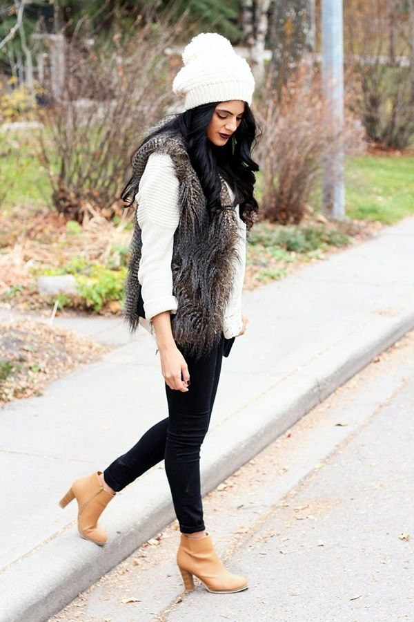 45 chunky fur vest outfits ideas to try this winter what i want to