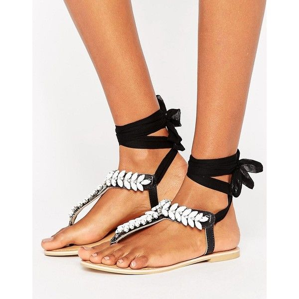 Tie Leg Flat Sandals - Black Park Lane