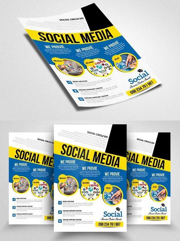 Social Media Marketing PSD Flyer Pinterest Media marketing