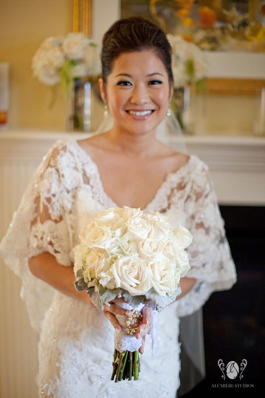 Bridal Bouquet of  Cremes and White Florals with Dusty Miller Wrap