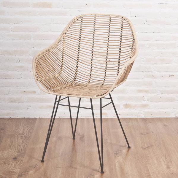 Rattan Chair Metal Legs: Viggo Rattan Dining Chair With Metal Legs, Natural In 2019