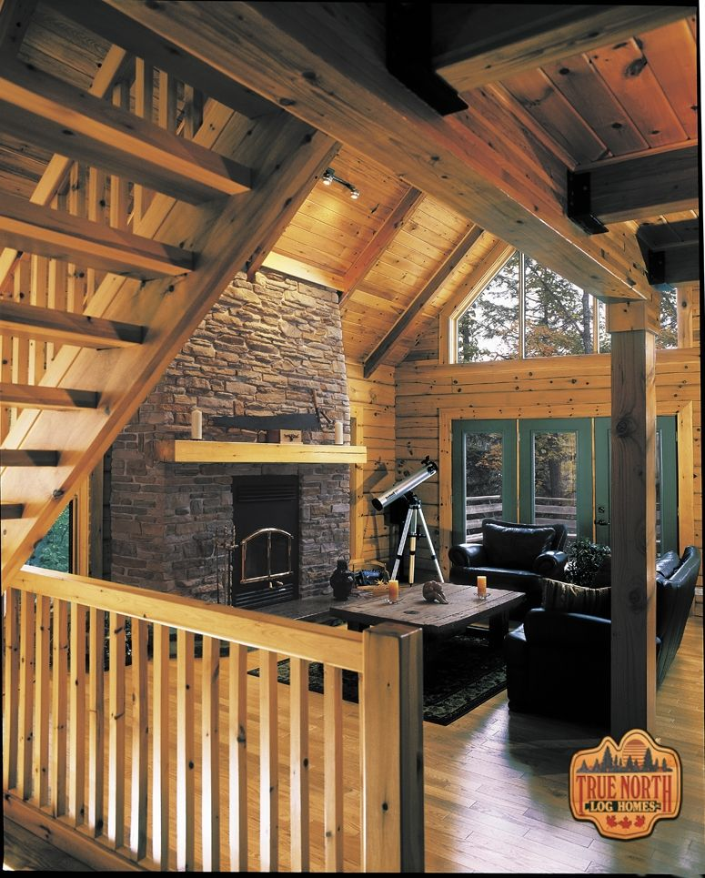 Nice This Is A Gorgeous True North Log Home Great Room. Just Look At That Stone
