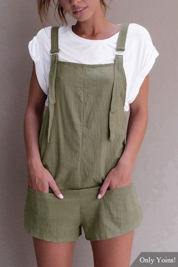 bd5a2539634 Casual Sleeveless Overalls Romper in Green