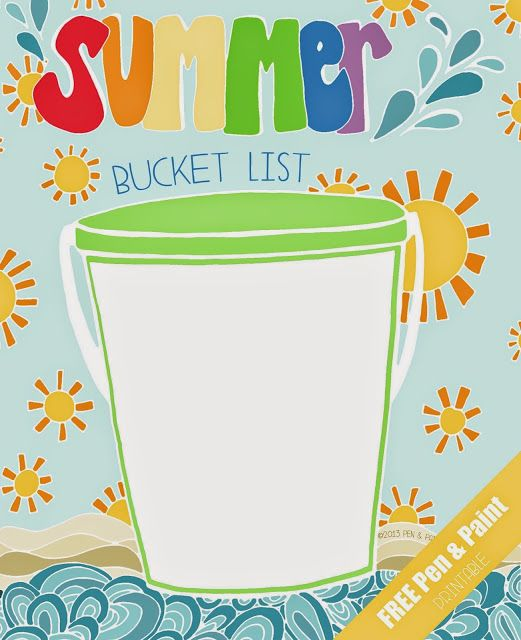 Pen Paint Free Printable Coloring Page Summer Bucket List Summer Bucket List Printable Summer Bucket Lists Summer Bucket