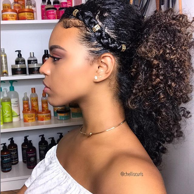 Single Side Braid With A Curly Ponytail Gold Cuffs Yes This Is All My Hair The Key To Le Natural Hair Styles Curly Hair Styles Naturally Curly Hair Styles