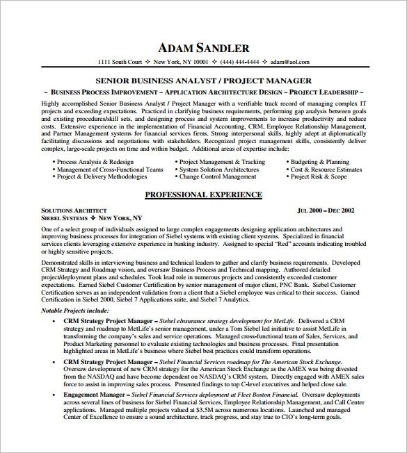 It Project Manager Resume Free Templates  Senior Project Manager