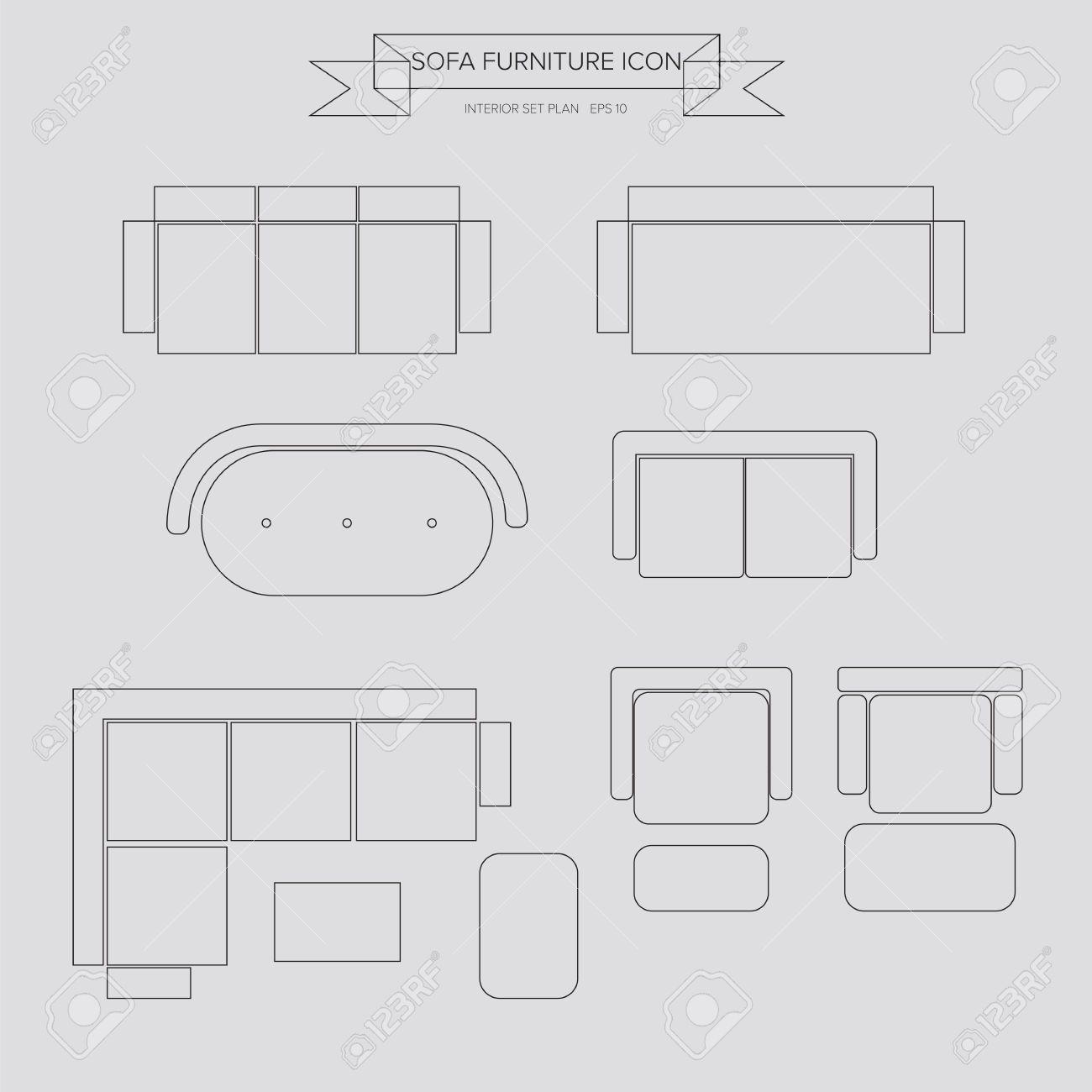 Canapé meubles icône de plan vue de dessus pour le plan intérieur clip art libres