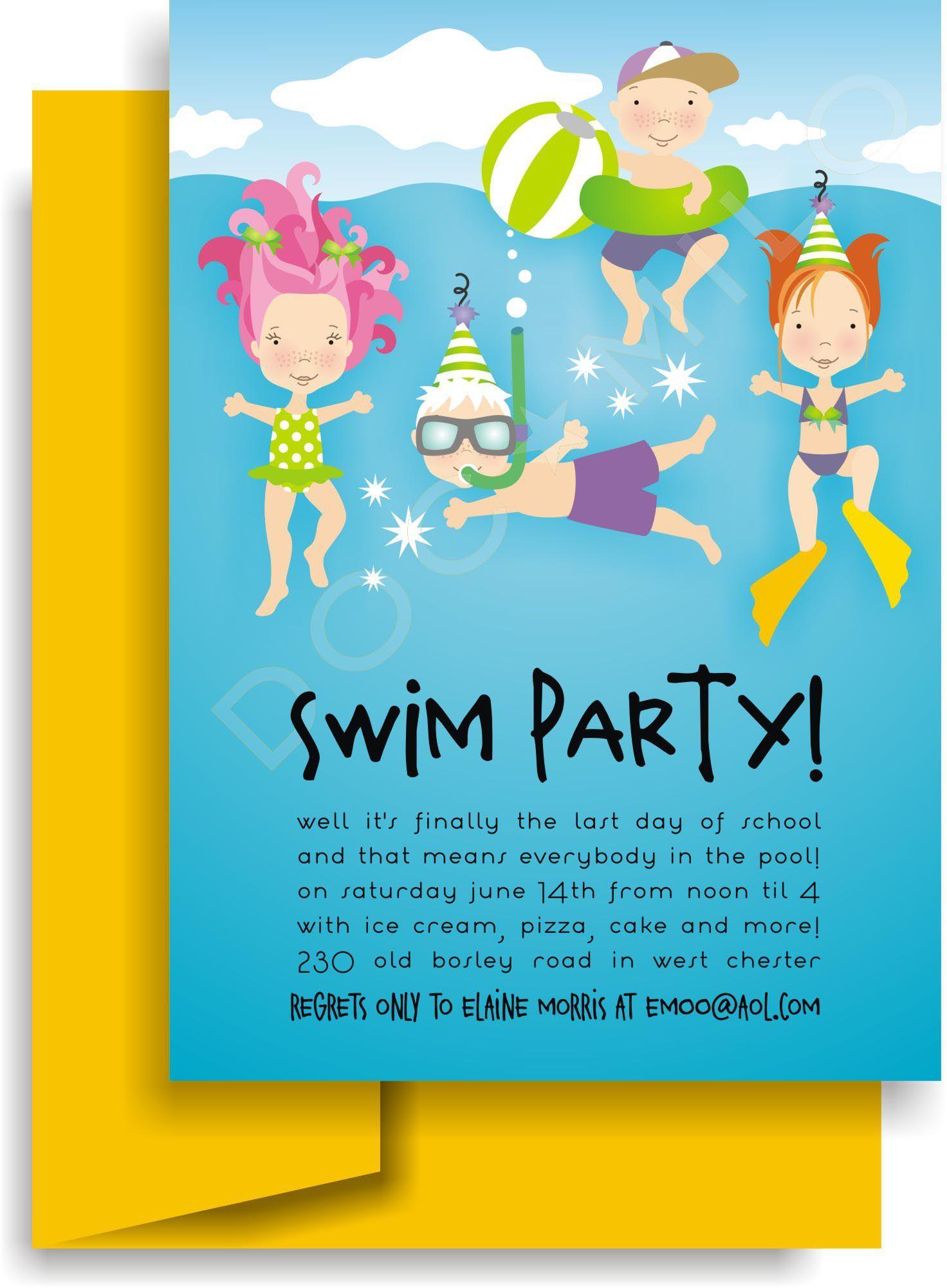 Einladung Kindergeburtstag Schwimmbad Vorlage