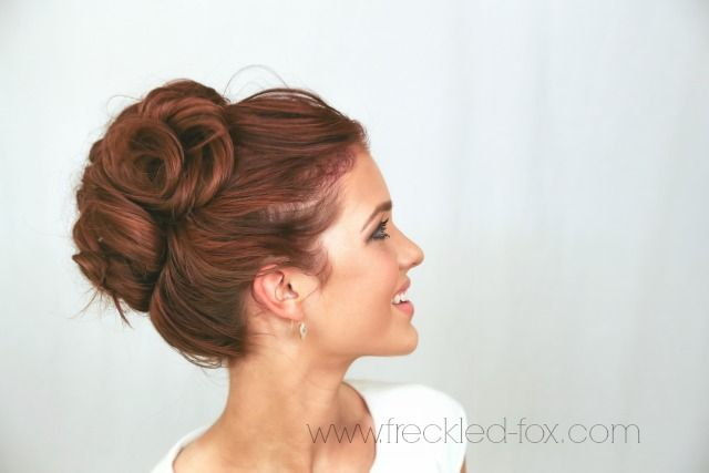 The Freckled Fox Wedding Hair Week High Curly Bun By Emily Meyers Bridesmaid Hair Curly Hair Styles Wedding Hairstyles