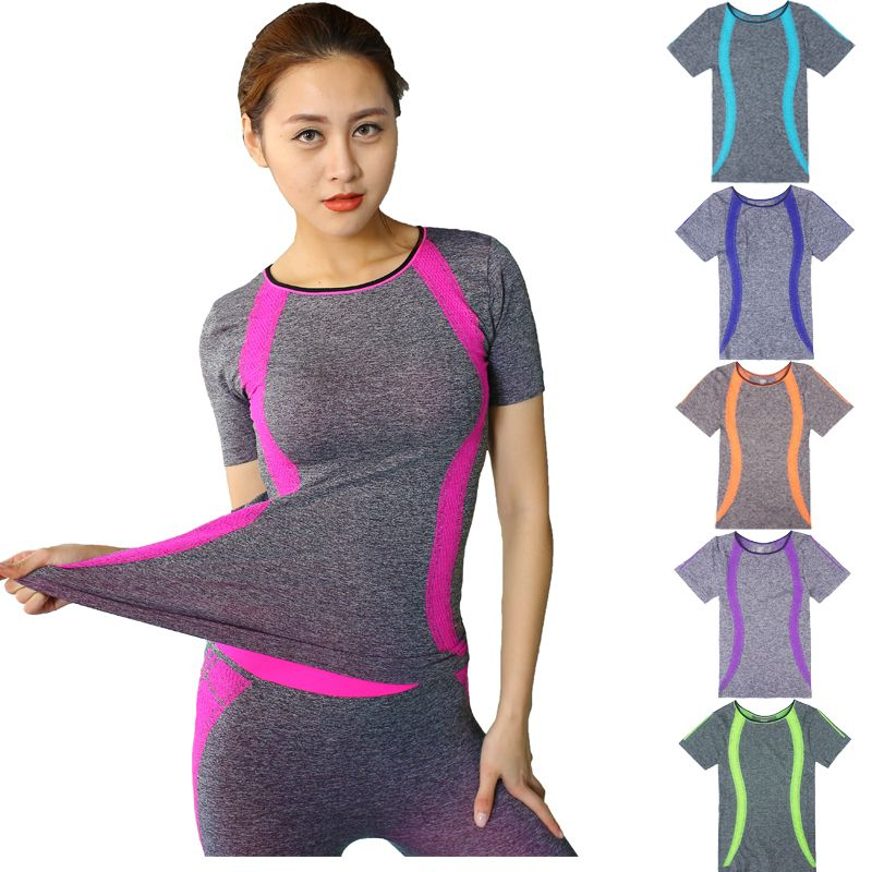87280e3cad469 New Style Yoga Gym Compression Tights Women s Sport T-shirts Dry Quick  Running Short Sleeve T-shirts Fitness Clothes Tees tops