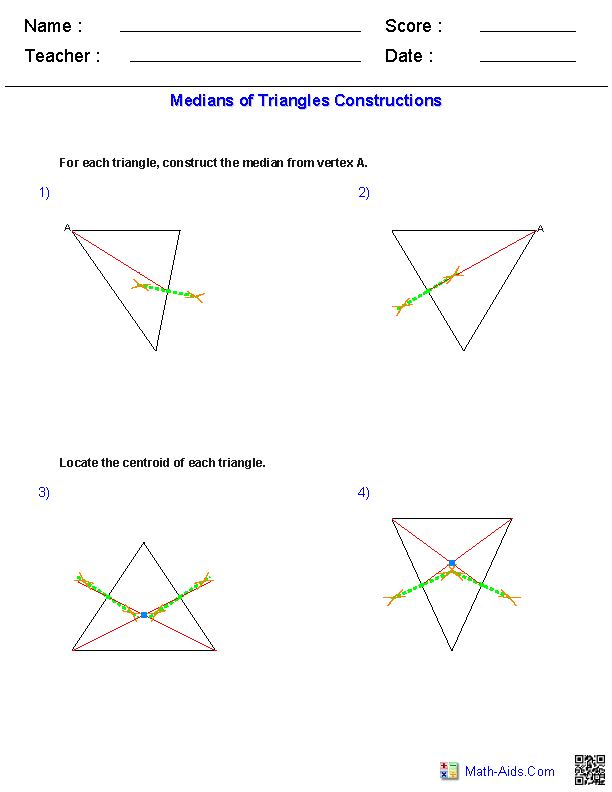 Medians of Triangles Constructions Worksheets | Math Worksheets ...
