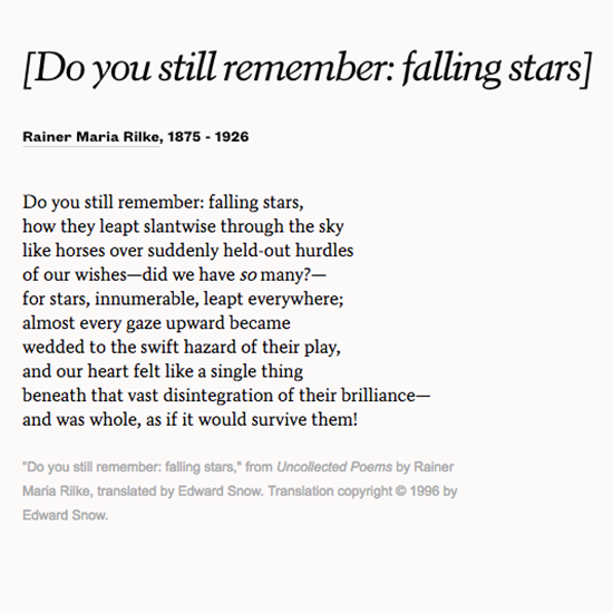 Read Do You Still Remember Falling Stars By Rainer Maria Rilke To Marvel At Your Love With And For Your Partner Poetry Words Poems Rilke Quotes