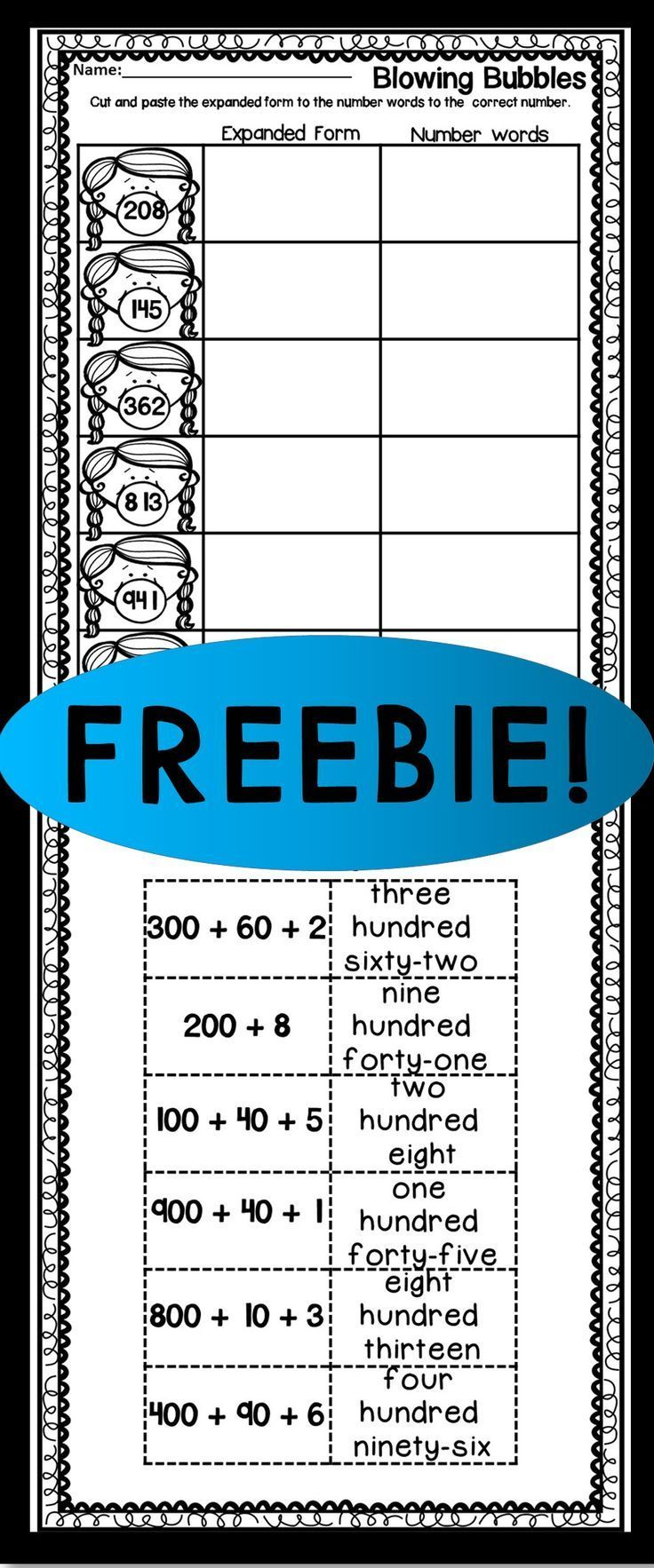FREEBIE! EXPANDED FORM CUT AND PASTE | TpT FREE LESSONS | Pinterest ...