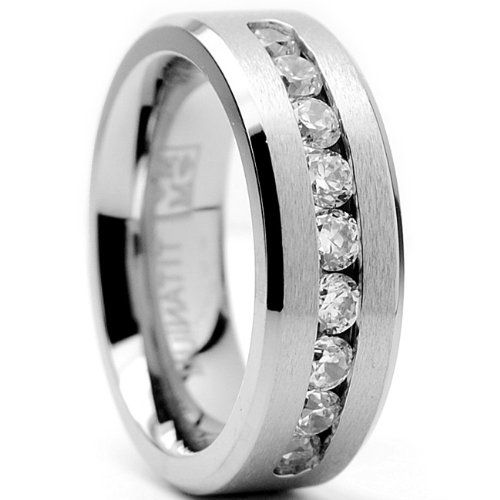 8 MM Men's Titanium ring wedding band with 9 large Channel Set CZ sizes 7 to 15 for only $24.99 You save: $301.00 (92%)