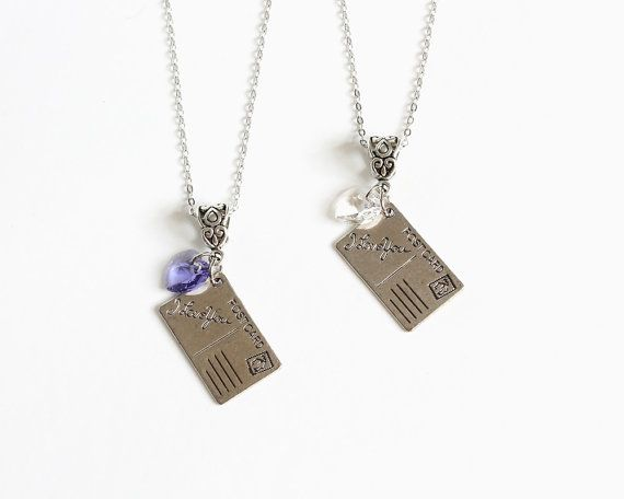 Postcard Love Necklace Purple or Red or Clear Heart by CissyPixie