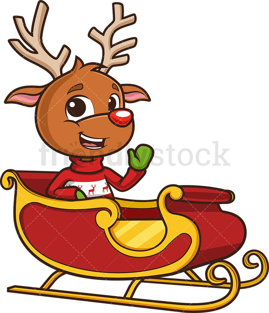 Reindeer In Santa's Sleigh Santa sleigh, Cartoon clip
