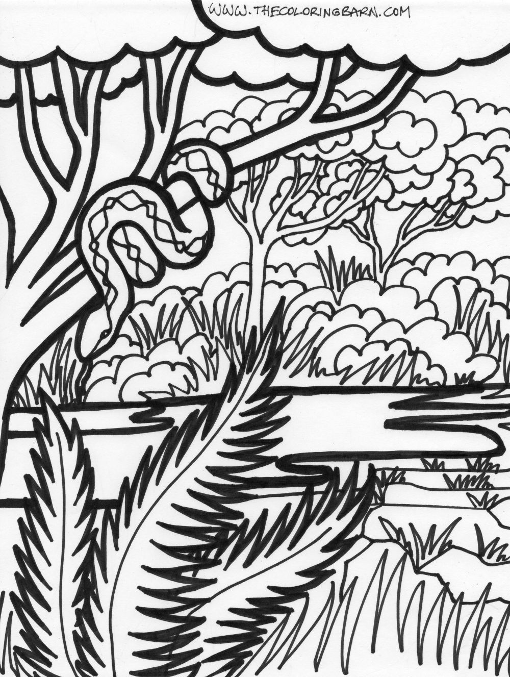 JUNGLE COLORING SHEETS | coloring page jungle scene coloring page ...