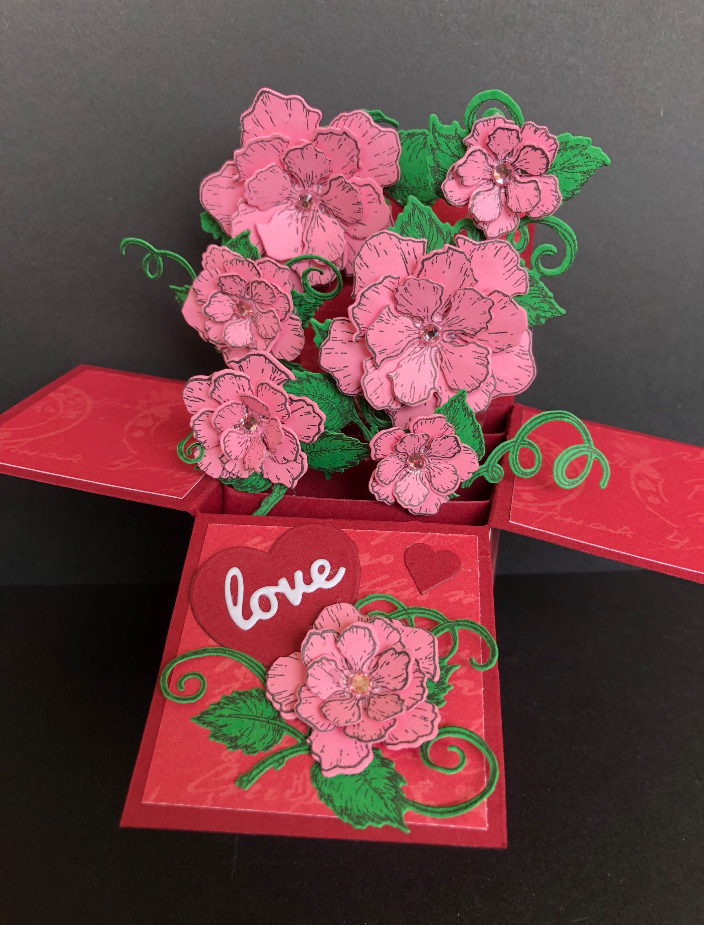 Valentines Day Explosion Box Card Elegant Handmade Flowers In
