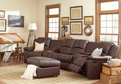 San Angelo Brown 7 Pc Sectional Living Room Plus HDTV