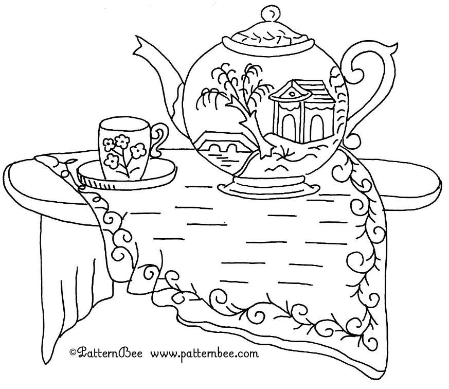 FREE REDWORK TEAPOT vintage pattern embroidery