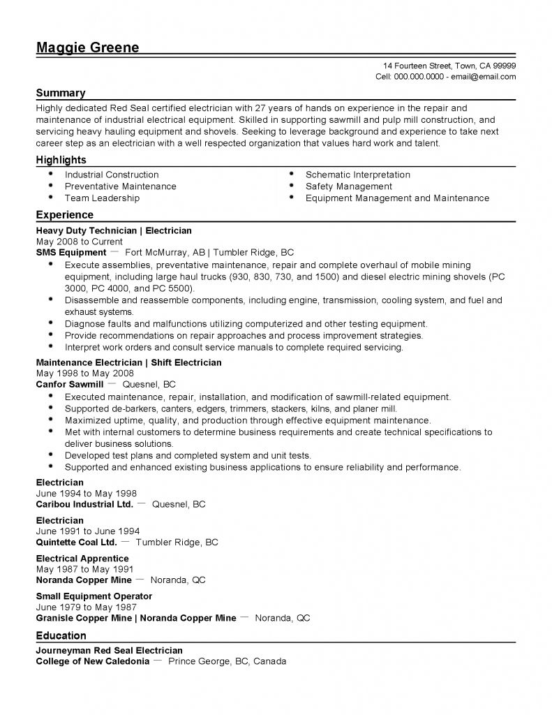 Resume Templates For Industrial Electrician 2021 Electrician Resume Repair And Maintenance