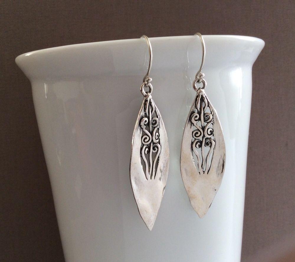 feda6478b Noa Zuman Sterling Silver Dangle Earrings Handcrafted Artisan Made in  Israel NWT | eBay
