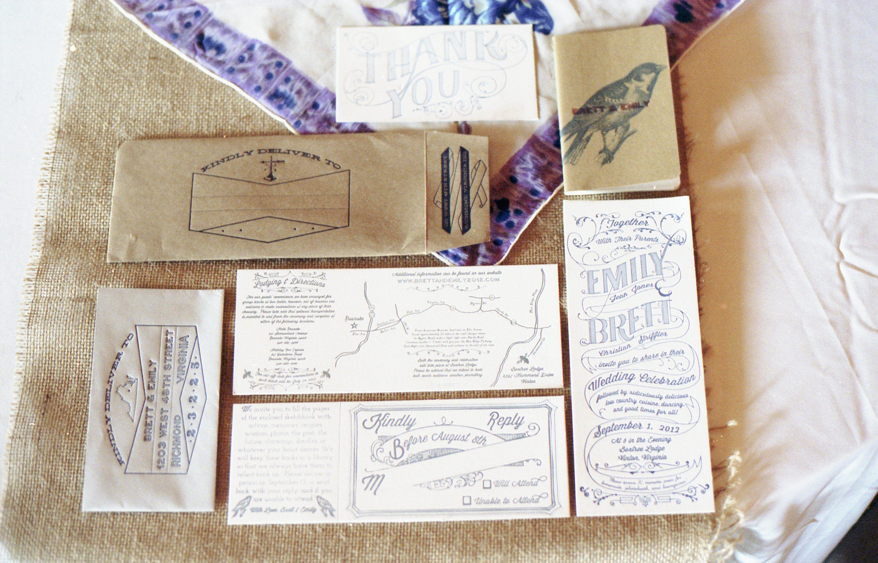 Vintage letterpress stationery laura and steveus wedding