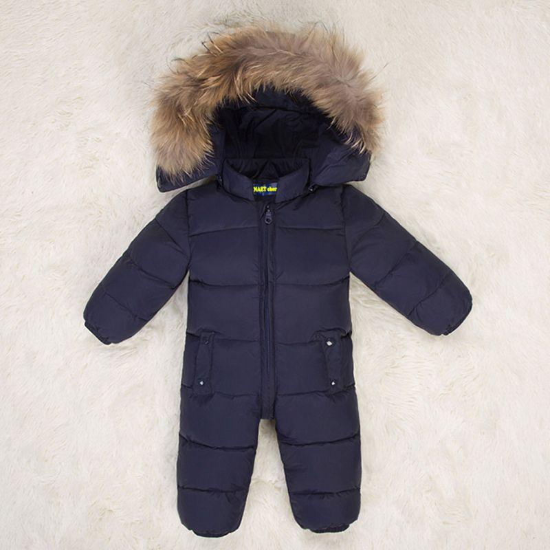 Hooded baby jumpsuit fur baby winter romper toddler girl boy Snowsuit warm  down Children winter jumpsuit