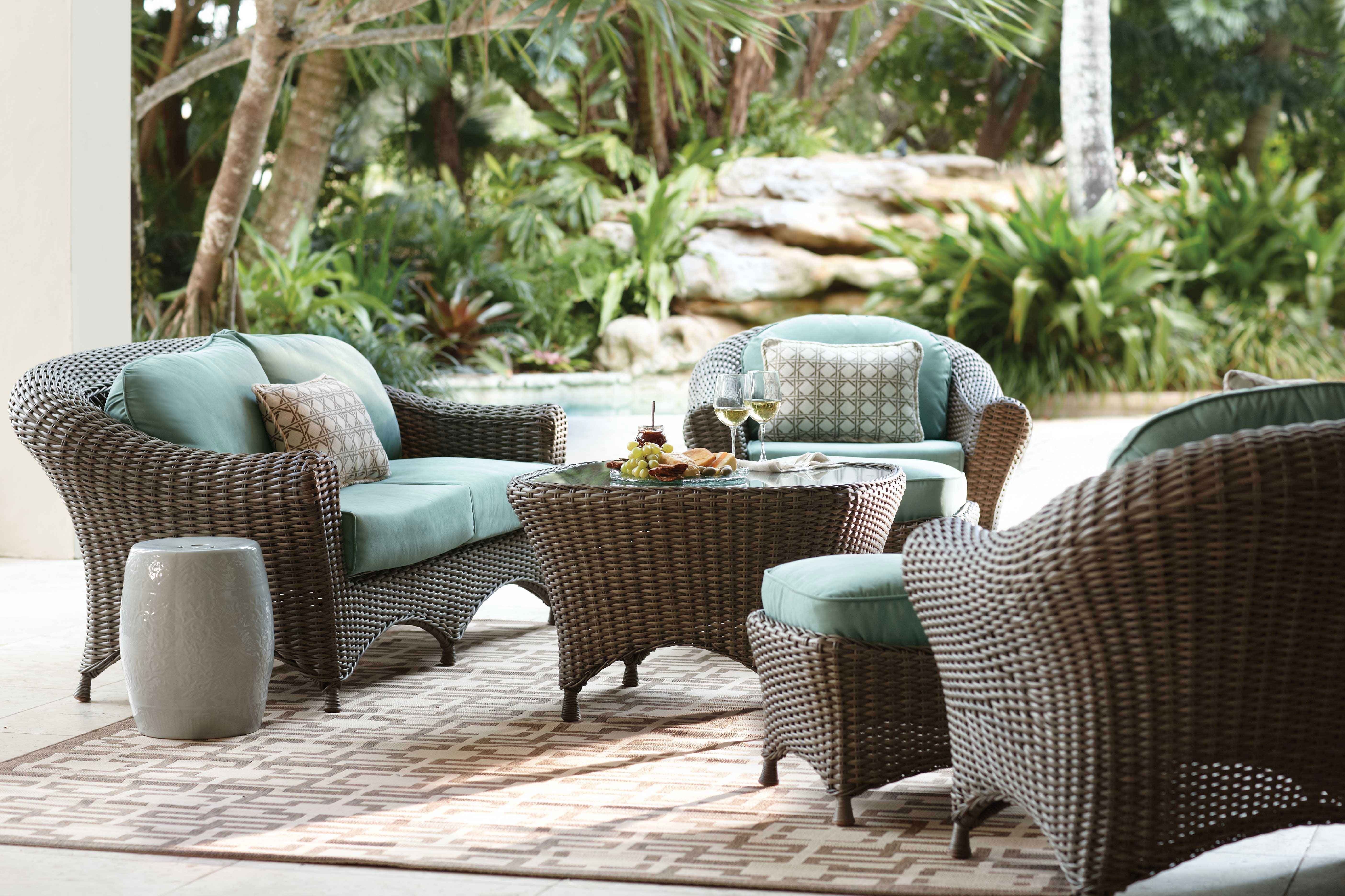 Explore the all weather, hand woven, Lake Adela seating ... on Martha Living Wicker Patio Set id=58911