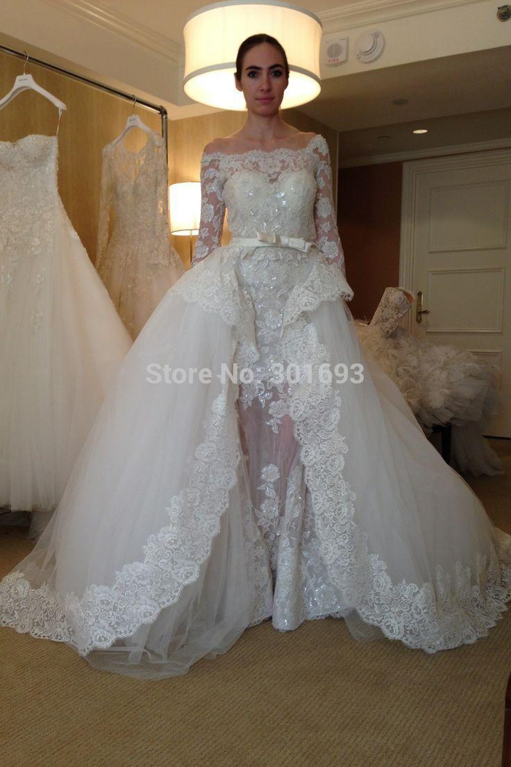 Detachable skirt wedding dress  OMYW strapless full long sleeve lace wedding dresses vestidos de