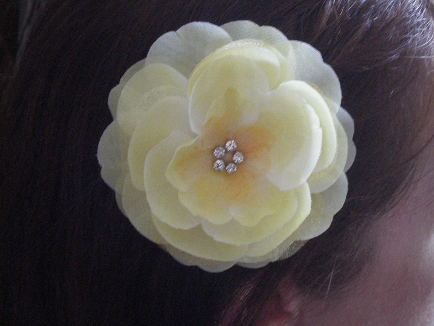 A Yellow Baby Maize Silk Flower Hair Comb with Five Crystals - Bridal Hair Accessory, Bridesmaid Hair Accessory, Weddings, Celebrations. $28.00, via Etsy.