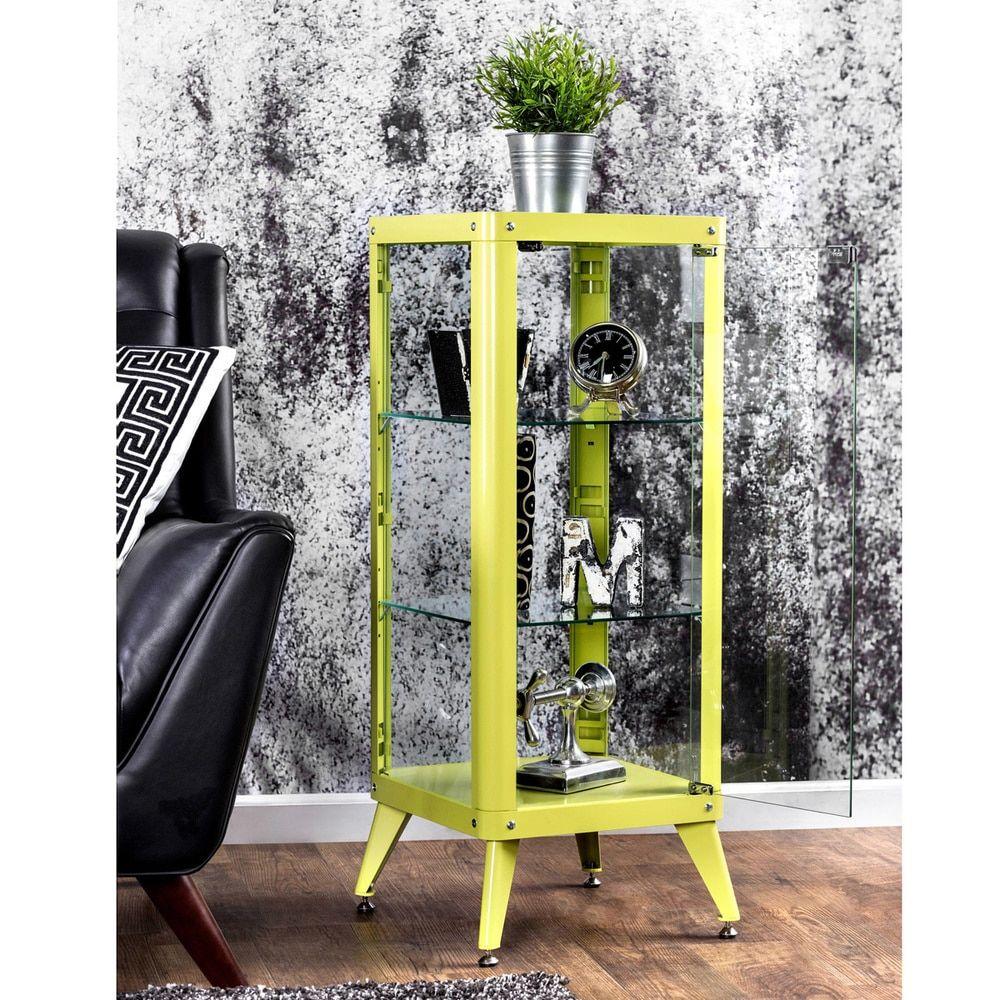 Furniture Of America Linden Modern 3 Shelf Metal Cabinet